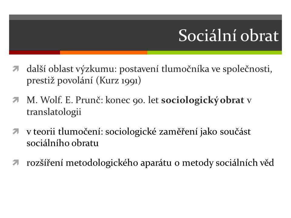 Sociální obrat další oblast výzkumu: postavení tlumočníka ve společnosti, prestiž povolání (Kurz 1991)