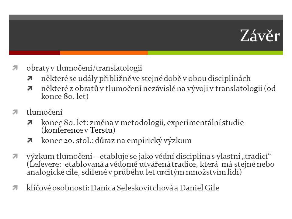 Závěr obraty v tlumočení/translatologii