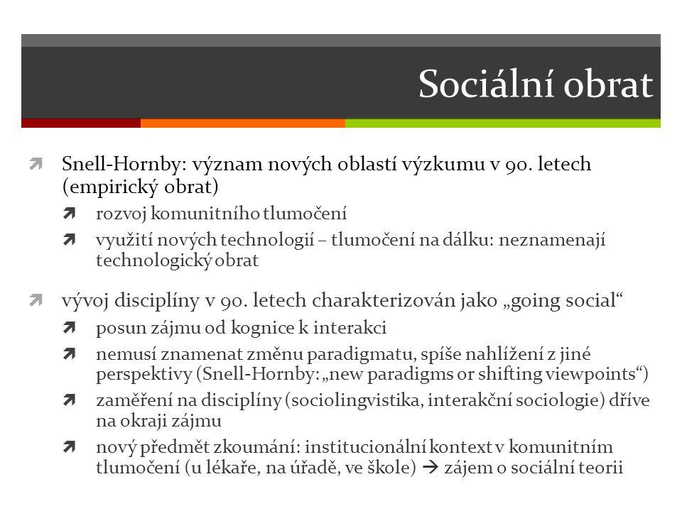Sociální obrat Snell-Hornby: význam nových oblastí výzkumu v 90. letech (empirický obrat) rozvoj komunitního tlumočení.
