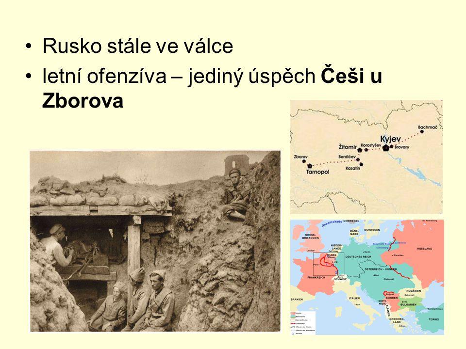 Rusko stále ve válce letní ofenzíva – jediný úspěch Češi u Zborova