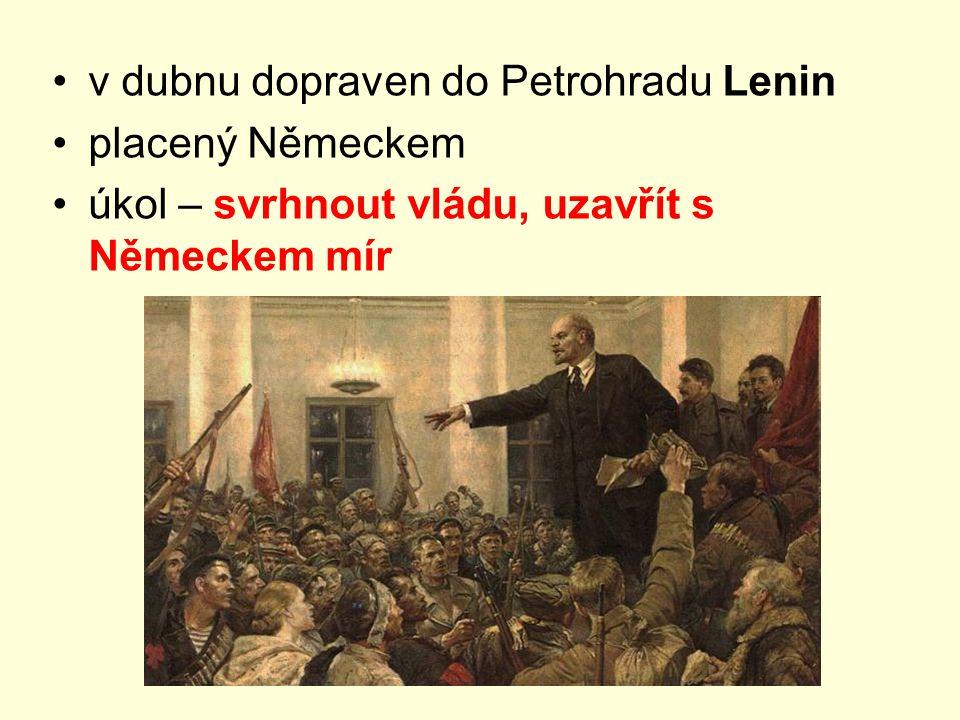 v dubnu dopraven do Petrohradu Lenin