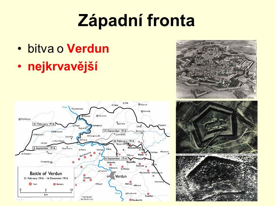 Západní fronta bitva o Verdun nejkrvavější