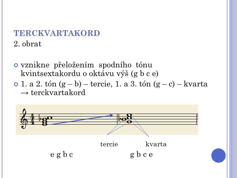 TERCKVARTAKORD 2. obrat. vznikne přeložením spodního tónu kvintsextakordu o oktávu výš (g b c e)