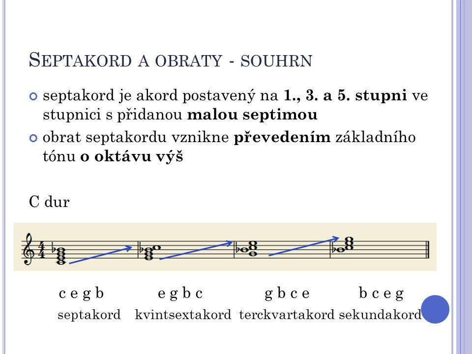 Septakord a obraty - souhrn