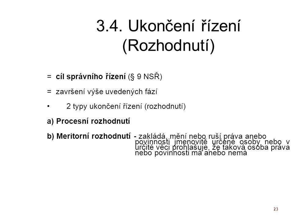 3.4. Ukončení řízení (Rozhodnutí)