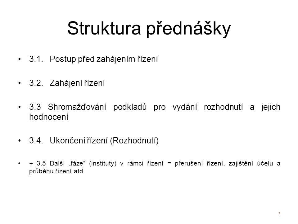 Struktura přednášky 3.1. Postup před zahájením řízení