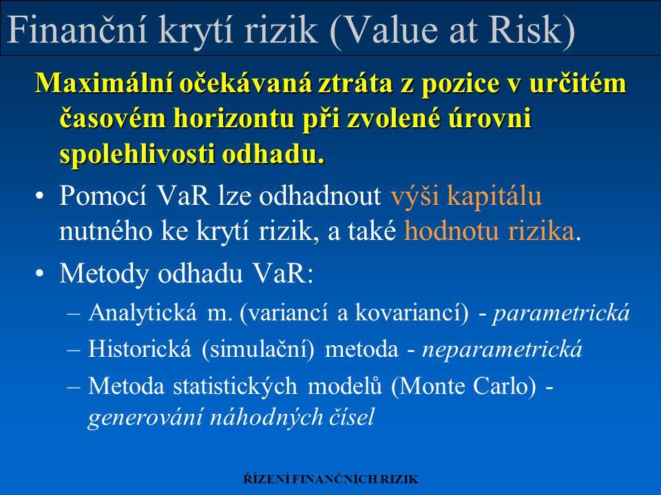 Finanční krytí rizik (Value at Risk)