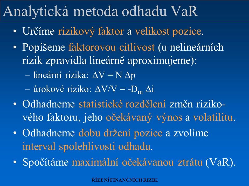 Analytická metoda odhadu VaR