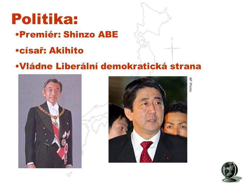 Politika: Premiér: Shinzo ABE císař: Akihito