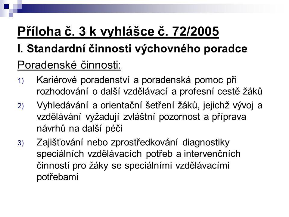 Příloha č. 3 k vyhlášce č. 72/2005 I. Standardní činnosti výchovného poradce. Poradenské činnosti: