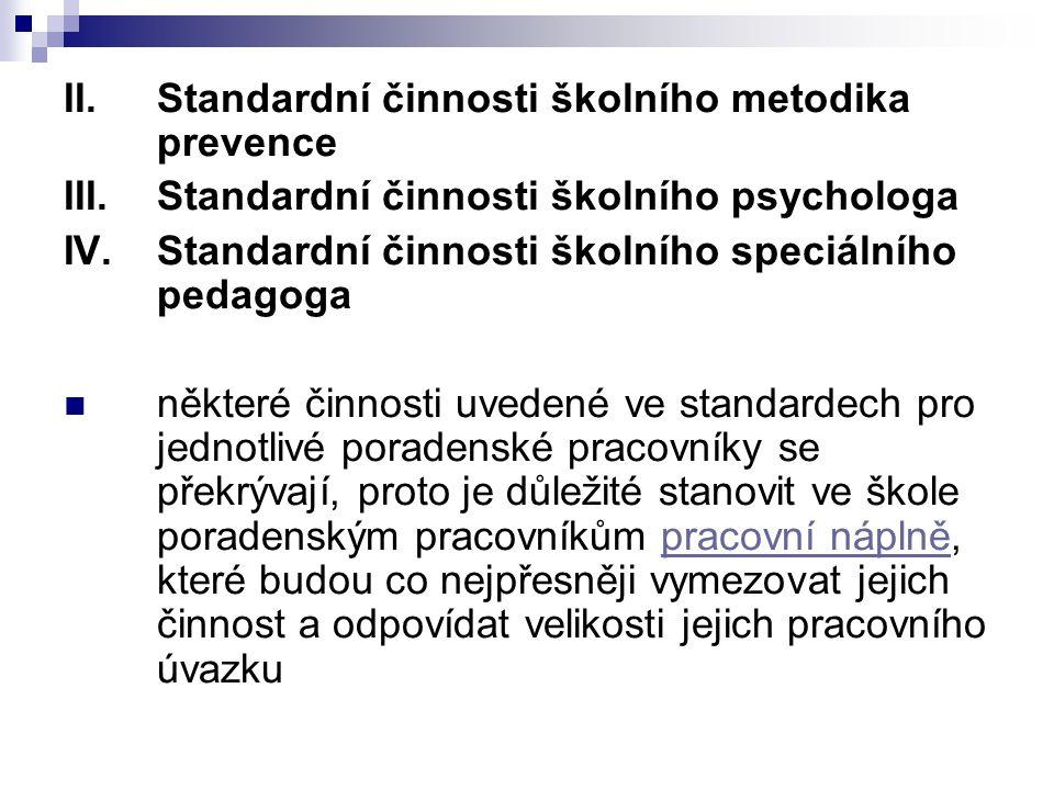 Standardní činnosti školního metodika prevence