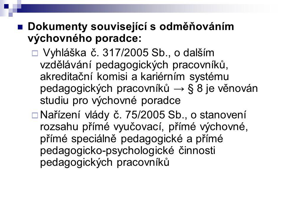 Dokumenty související s odměňováním výchovného poradce: