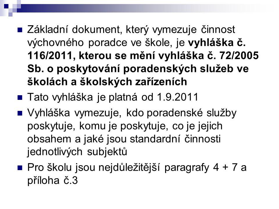 Základní dokument, který vymezuje činnost výchovného poradce ve škole, je vyhláška č. 116/2011, kterou se mění vyhláška č. 72/2005 Sb. o poskytování poradenských služeb ve školách a školských zařízeních