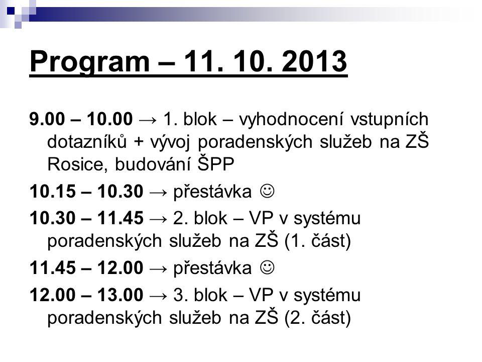Program – 11. 10. 2013 9.00 – 10.00 → 1. blok – vyhodnocení vstupních dotazníků + vývoj poradenských služeb na ZŠ Rosice, budování ŠPP.