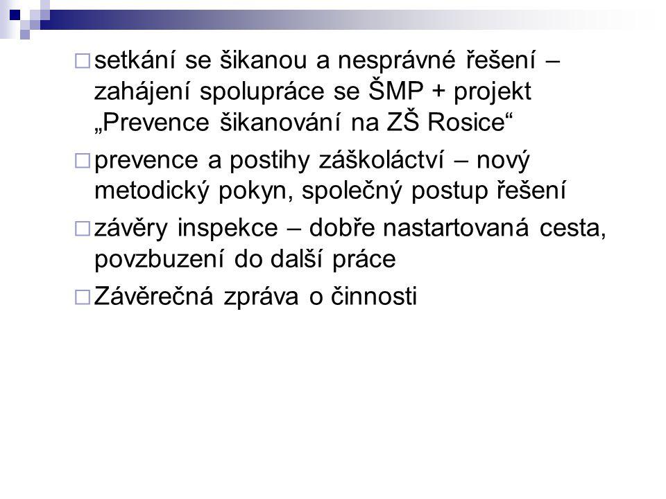 """setkání se šikanou a nesprávné řešení – zahájení spolupráce se ŠMP + projekt """"Prevence šikanování na ZŠ Rosice"""