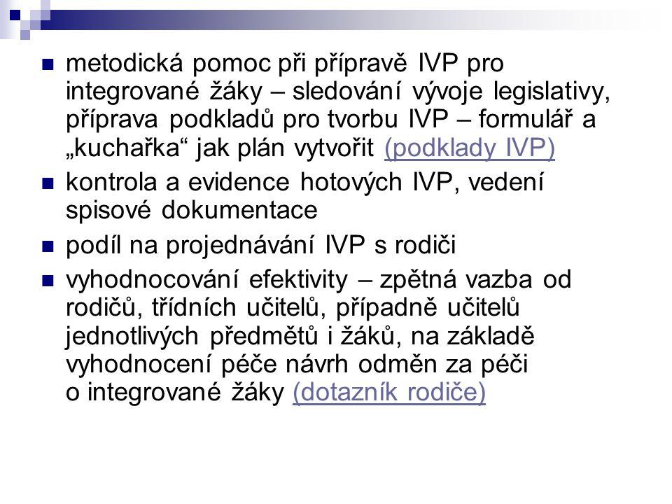 """metodická pomoc při přípravě IVP pro integrované žáky – sledování vývoje legislativy, příprava podkladů pro tvorbu IVP – formulář a """"kuchařka jak plán vytvořit (podklady IVP)"""