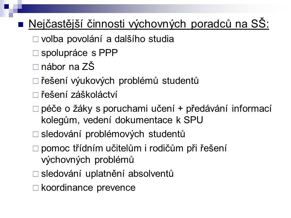 Nejčastější činnosti výchovných poradců na SŠ: