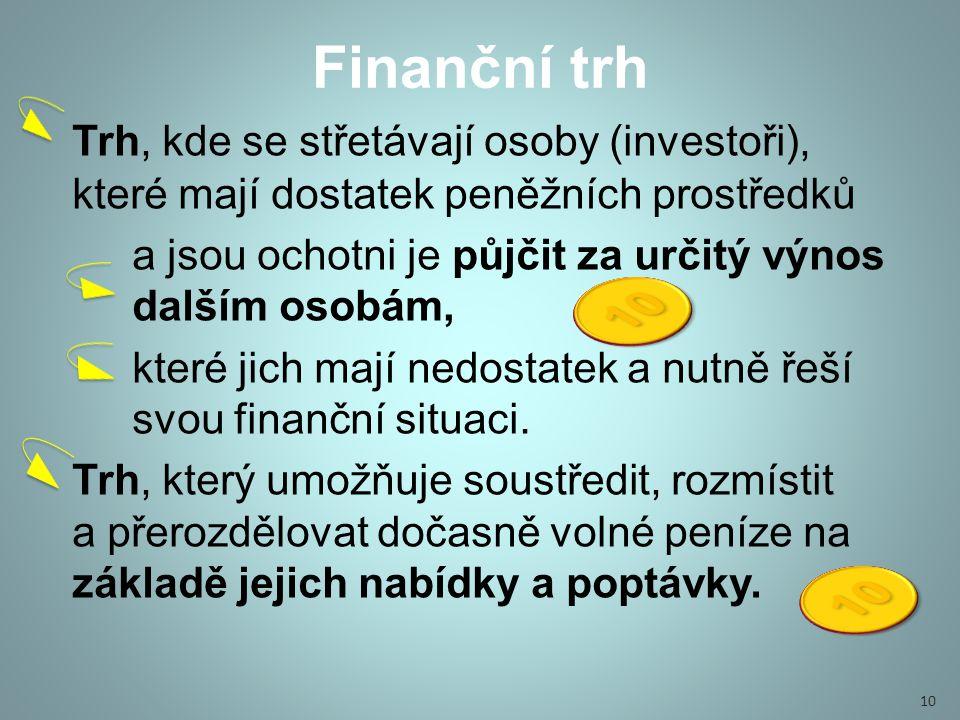 Finanční trh Trh, kde se střetávají osoby (investoři), které mají dostatek peněžních prostředků.