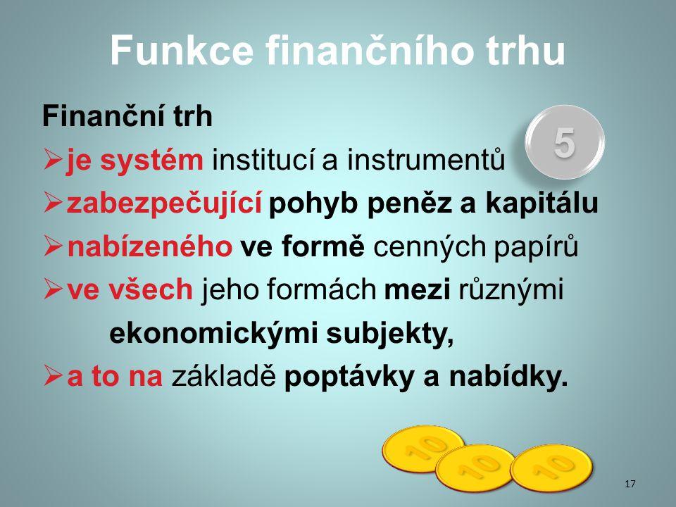Funkce finančního trhu