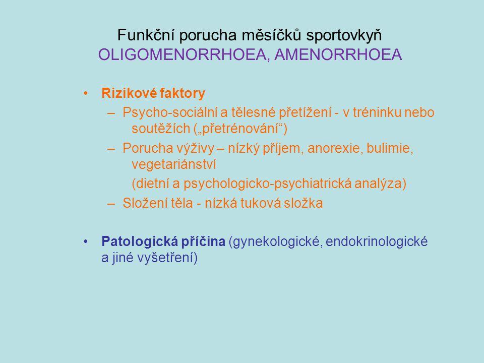 Funkční porucha měsíčků sportovkyň OLIGOMENORRHOEA, AMENORRHOEA
