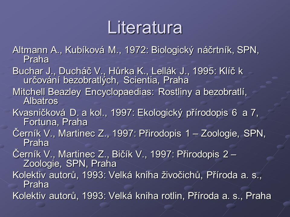 Literatura Altmann A., Kubíková M., 1972: Biologický náčrtník, SPN, Praha.