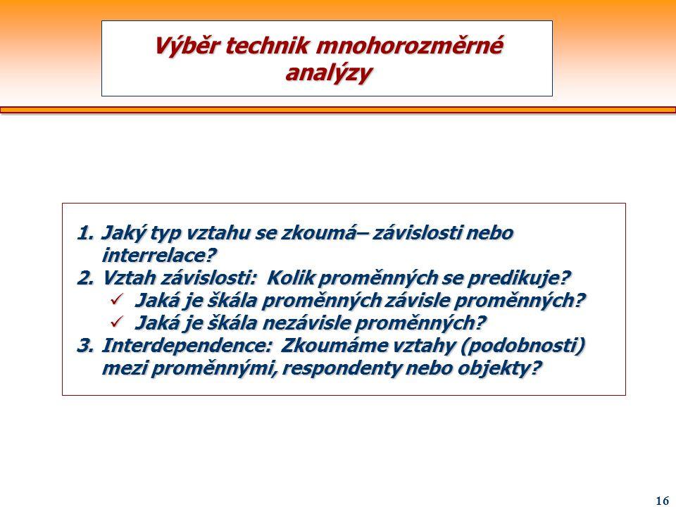 Výběr technik mnohorozměrné analýzy