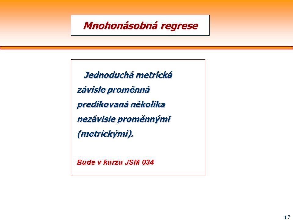 Mnohonásobná regrese Jednoduchá metrická závisle proměnná predikovaná několika nezávisle proměnnými (metrickými).