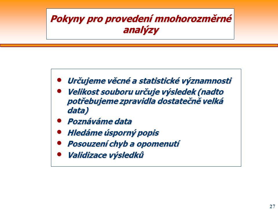 Pokyny pro provedení mnohorozměrné analýzy