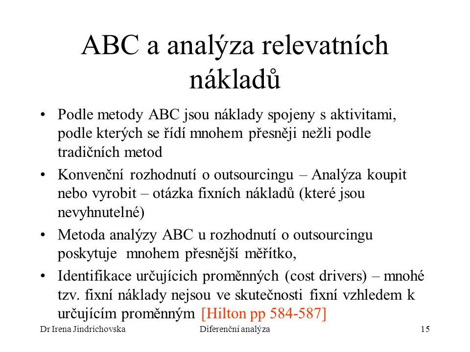 ABC a analýza relevatních nákladů
