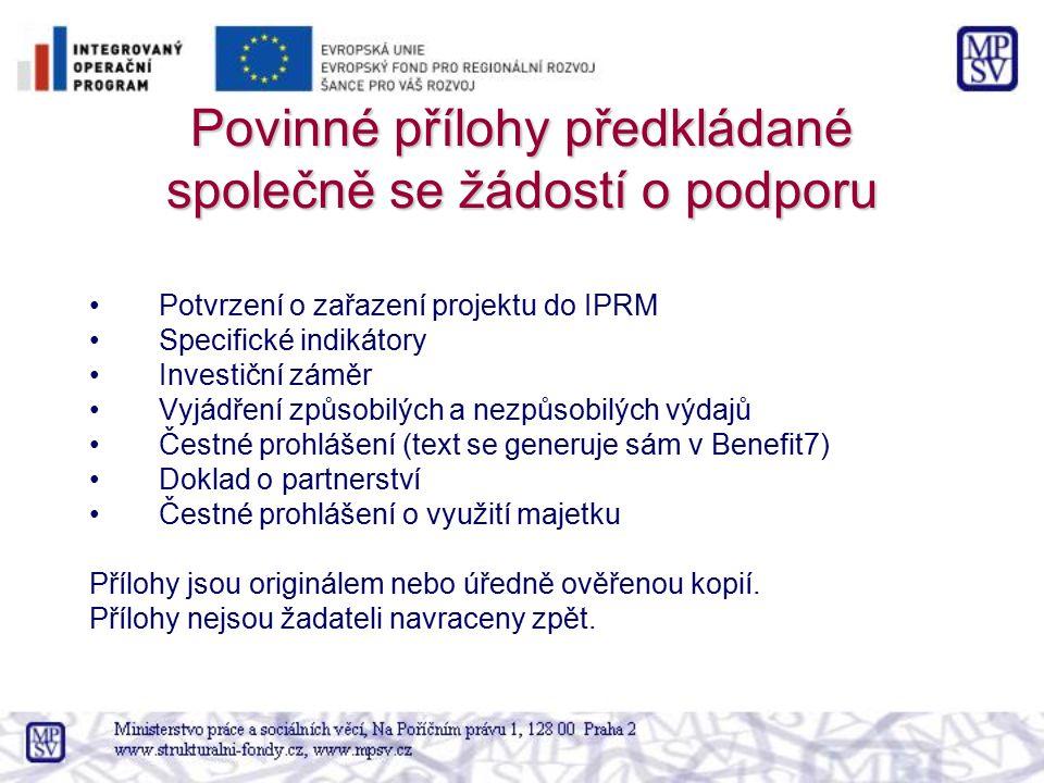 Povinné přílohy předkládané společně se žádostí o podporu