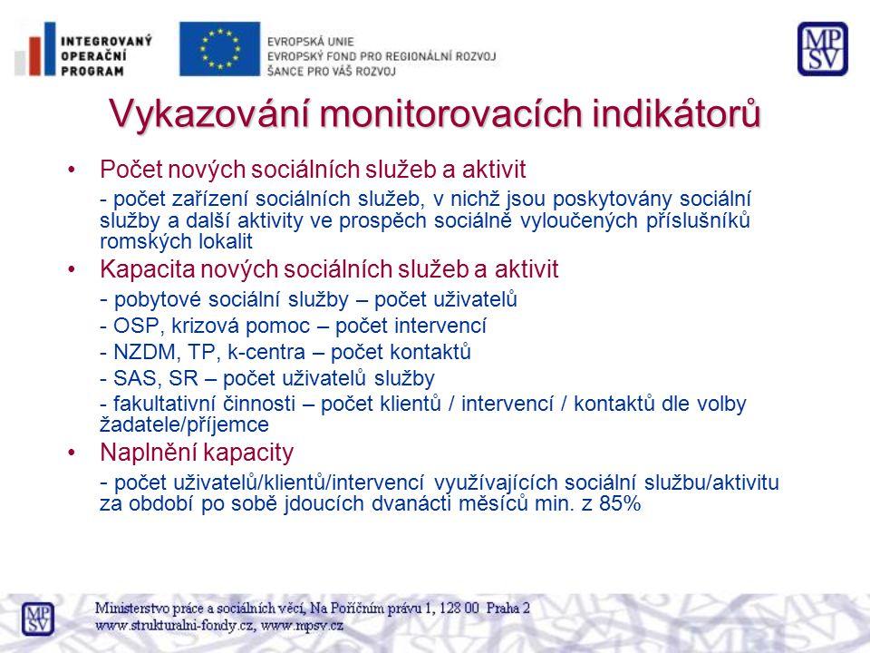 Vykazování monitorovacích indikátorů