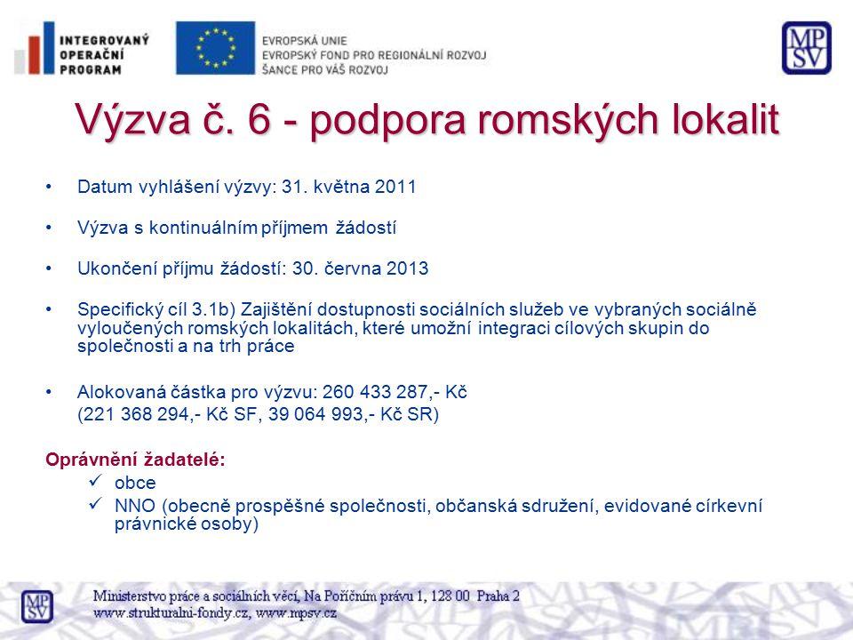 Výzva č. 6 - podpora romských lokalit