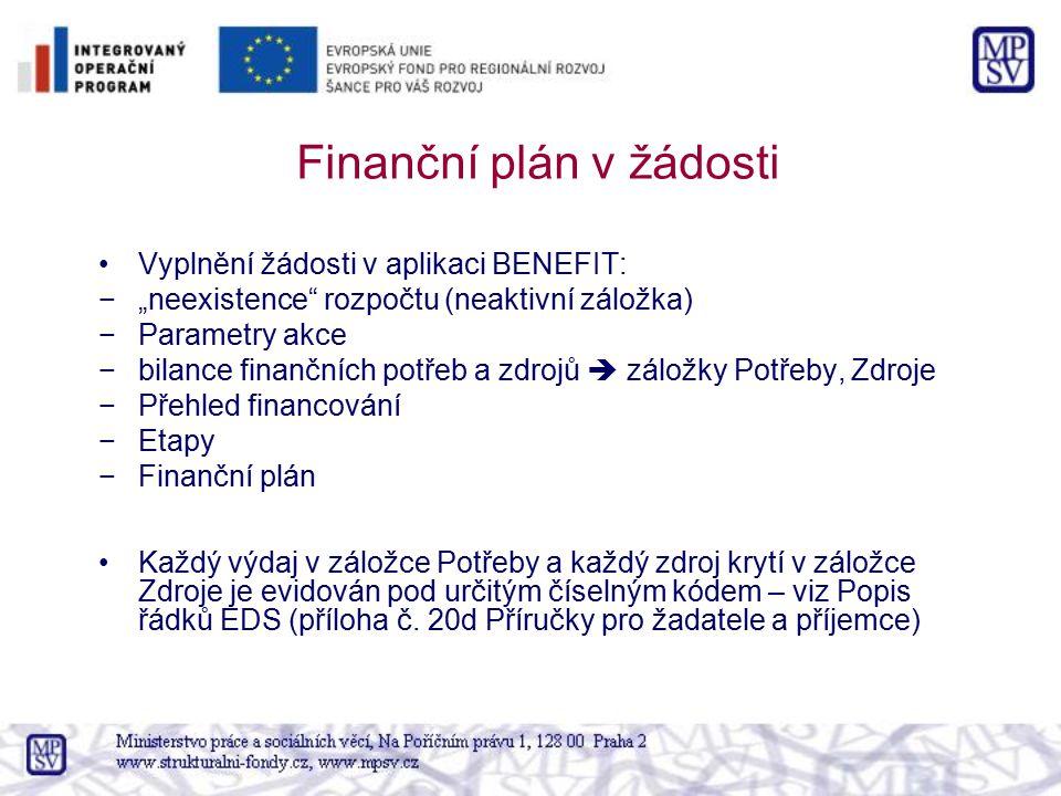 Finanční plán v žádosti