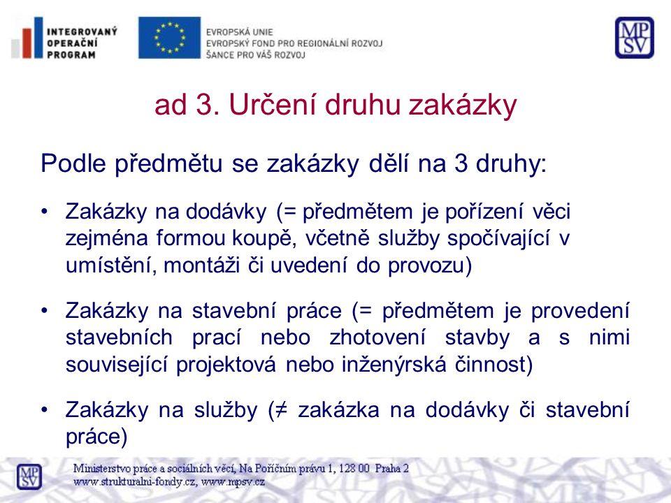 ad 3. Určení druhu zakázky