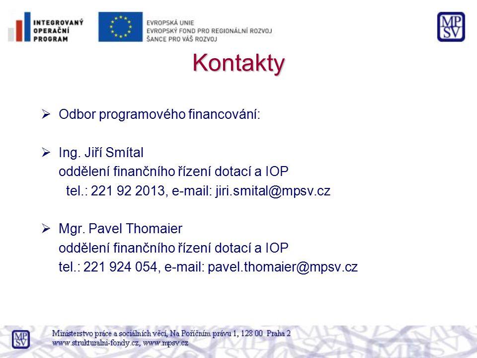 Kontakty Odbor programového financování: Ing. Jiří Smítal