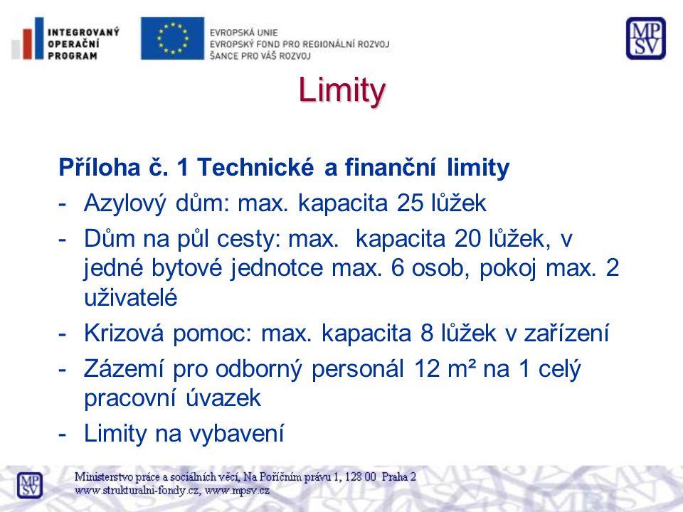 Limity Příloha č. 1 Technické a finanční limity