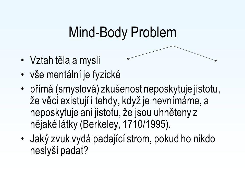 Mind-Body Problem Vztah těla a mysli vše mentální je fyzické