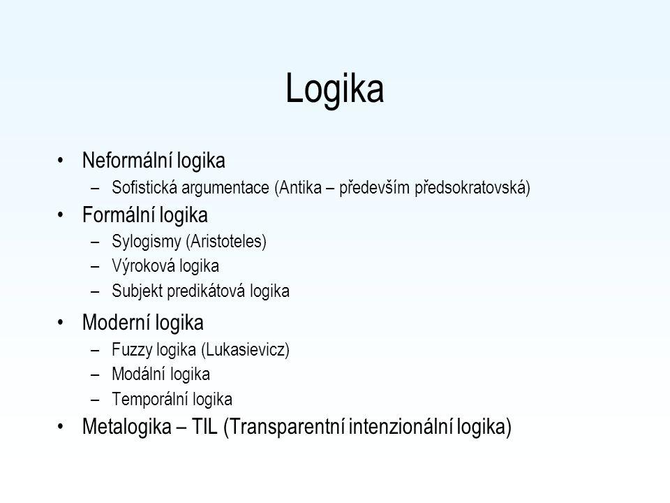 Logika Neformální logika Formální logika Moderní logika