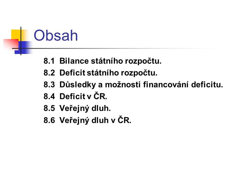 Obsah 8.1 Bilance státního rozpočtu. 8.2 Deficit státního rozpočtu.