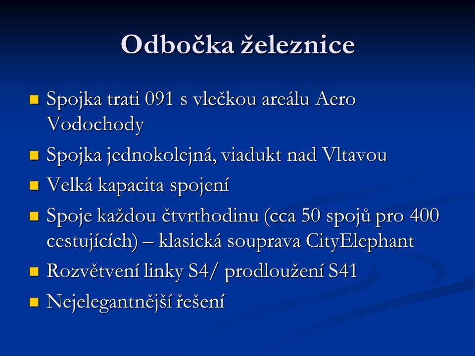 Odbočka železnice Spojka trati 091 s vlečkou areálu Aero Vodochody