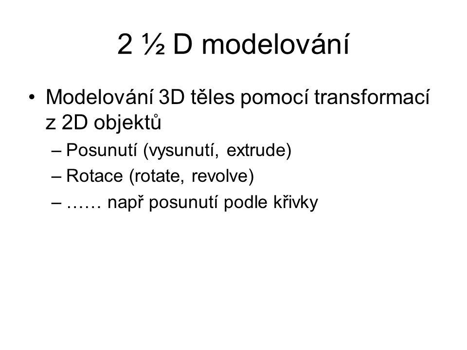 2 ½ D modelování Modelování 3D těles pomocí transformací z 2D objektů