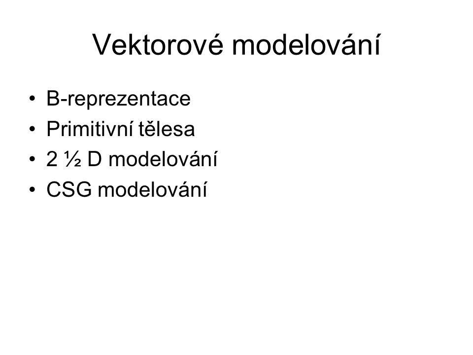 Vektorové modelování B-reprezentace Primitivní tělesa 2 ½ D modelování
