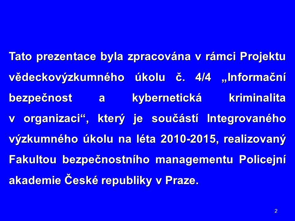 Tato prezentace byla zpracována v rámci Projektu vědeckovýzkumného úkolu č.