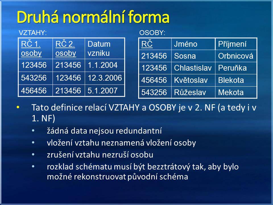 Druhá normální forma VZTAHY: OSOBY: RČ 1. osoby. RČ 2. osoby. Datum vzniku. 123456. 213456. 1.1.2004.