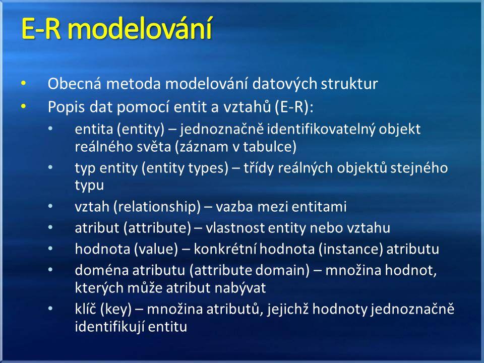 E-R modelování Obecná metoda modelování datových struktur