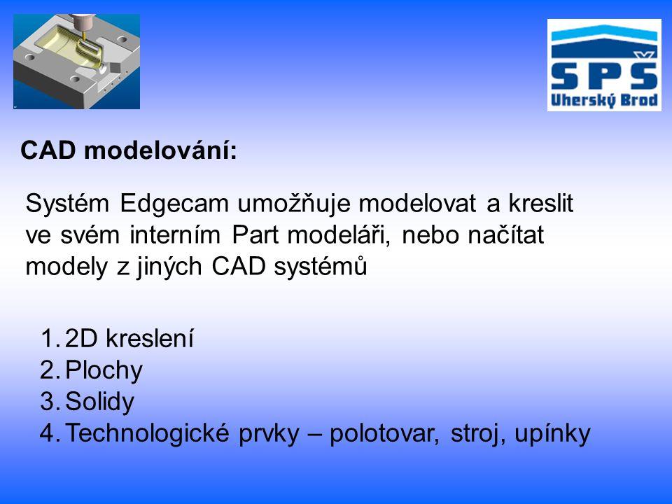 CAD modelování: Systém Edgecam umožňuje modelovat a kreslit. ve svém interním Part modeláři, nebo načítat.