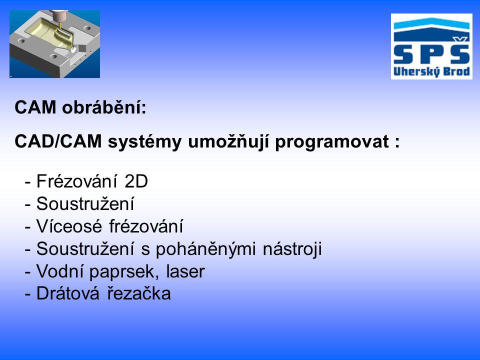 CAM obrábění: CAD/CAM systémy umožňují programovat : Frézování 2D. Soustružení. Víceosé frézování.