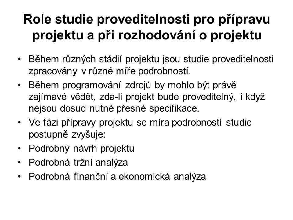 Role studie proveditelnosti pro přípravu projektu a při rozhodování o projektu