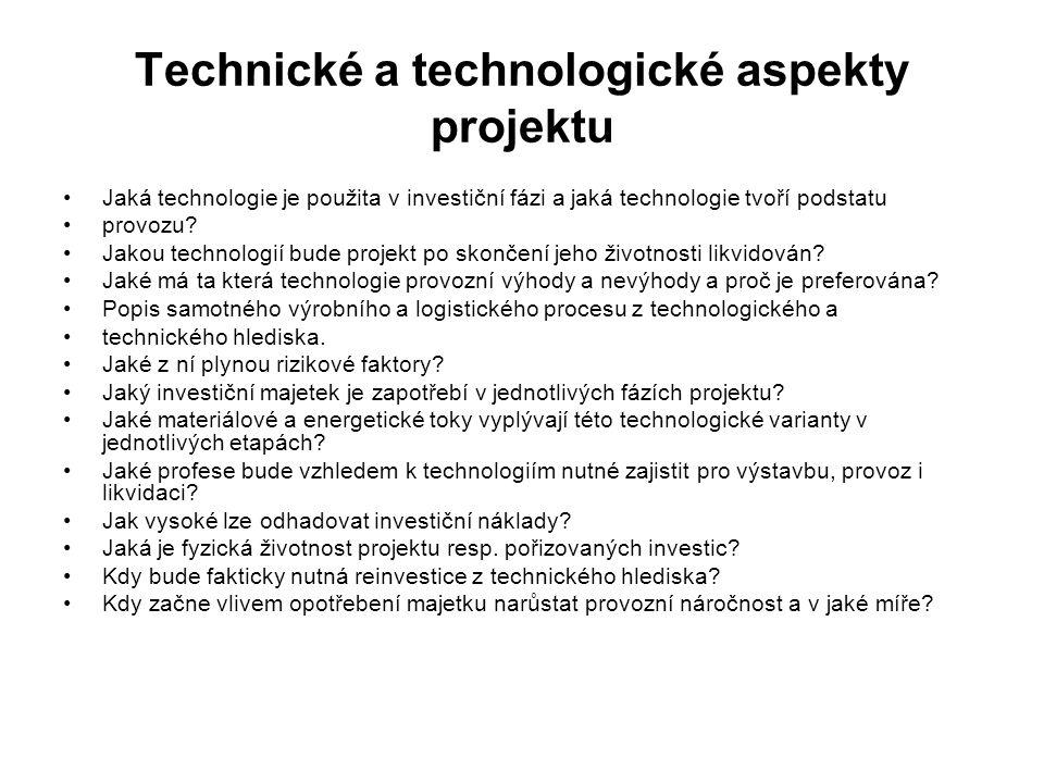 Technické a technologické aspekty projektu