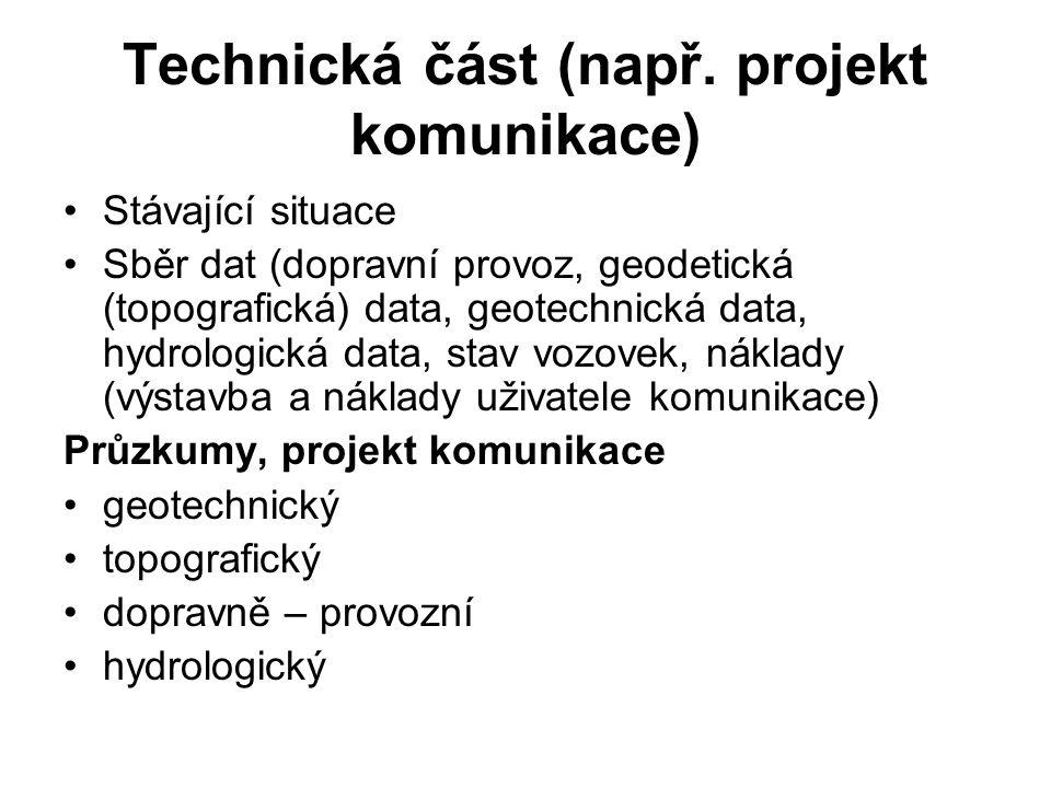 Technická část (např. projekt komunikace)